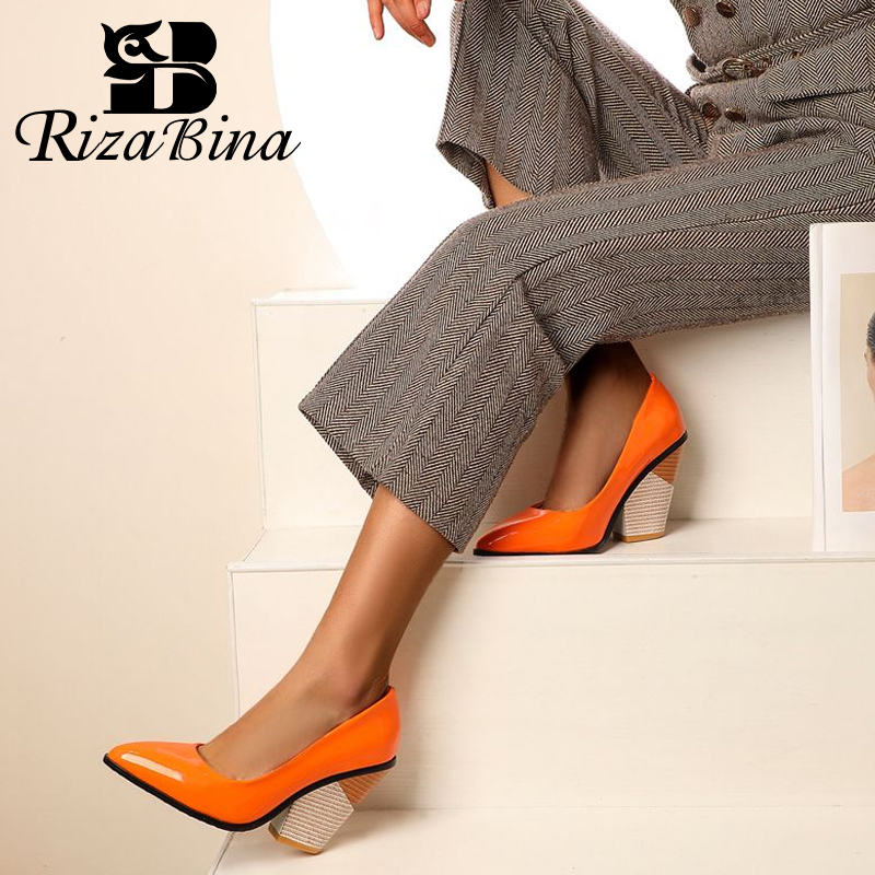 RIZABINA Plus Size 34-48 Women High Heel Shoes Sexy Pointed Toe Quality Office Ladies Pumps Dance Party Nightclub Footwear