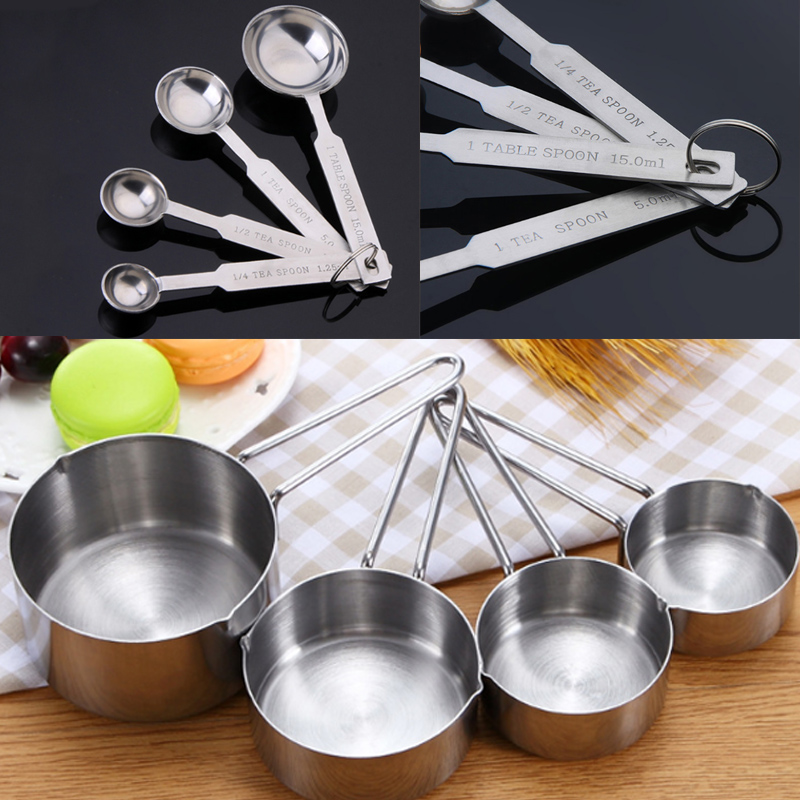 4pc Stainless Steel Measuring Cups Spoons Kitchen Baking Cooking Tools Set