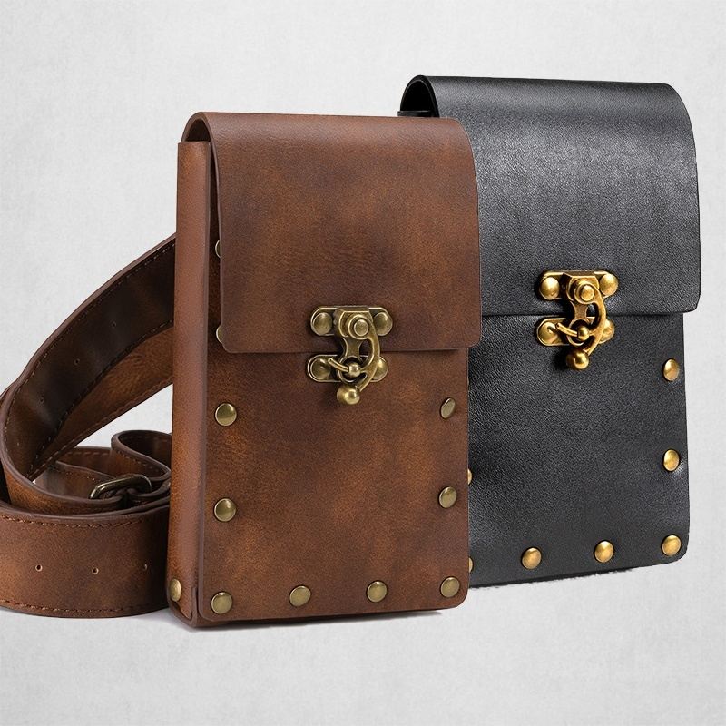 Leather Women Casual Design Small Waist Bag Cowhide Fashion Hook Bum Bag Sports Small Waist Belt Pack Cigarette Case Phone Pouch