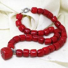 "Natural incrível cilindro vermelho coral pedra 11-15mm irregular encantadores contas diy linda colar fazendo 18 ""aaa bv135"