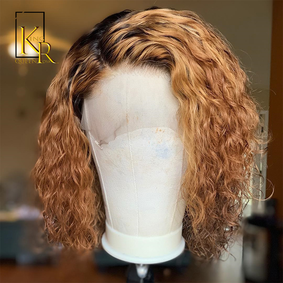 Ombre Short Curly Bob 1B/27 Blonde Color 13x4 Lace Front Human Hair Wigs Brazilian Remy 130% Density Hair Bleached Knots VS BOB