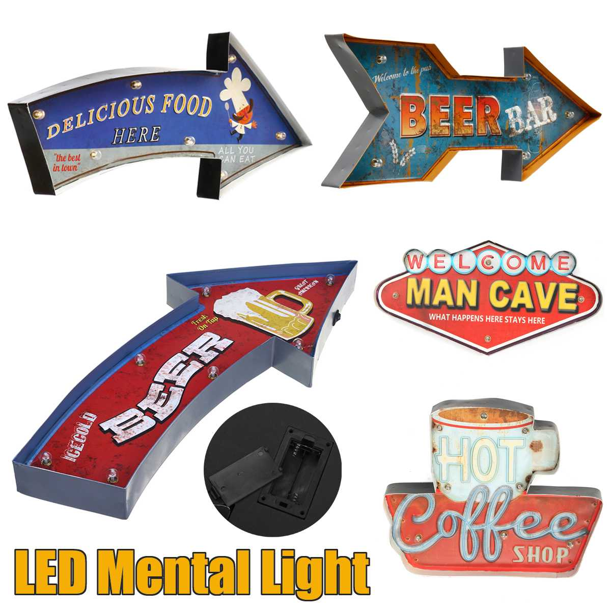5 Style Vintage Neon Sign Painting 7 Lights Beer Arrow-style Wall Decoration LED Mental Lamp Bar Game Room Wall Hangings Decor