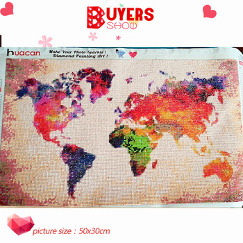 HUACAN Full Square Diamond Painting World Map 5D DIY Diamond Embroidery Sale Landscape Mosaic Picture