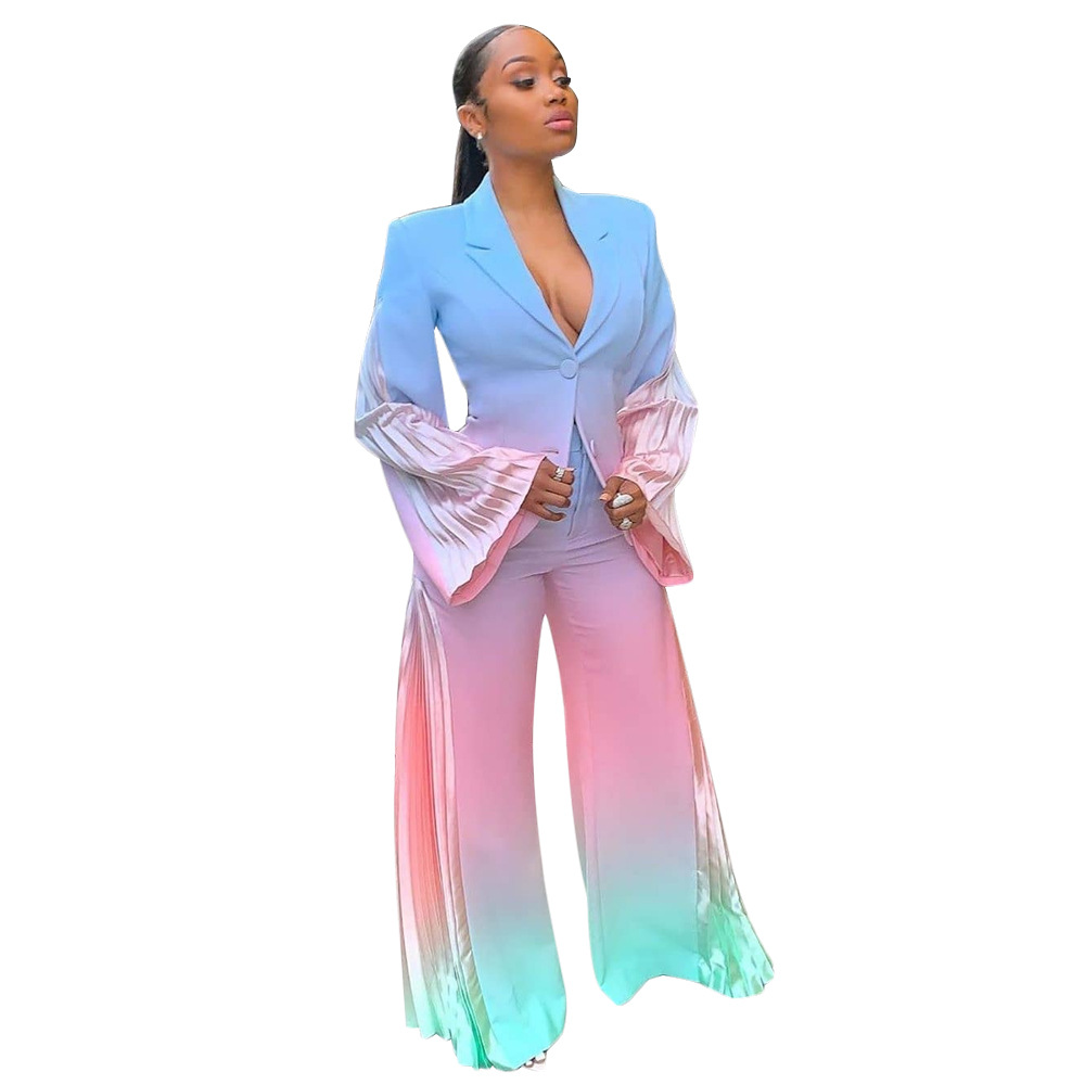 Echoine Designer High Quality Tie Dye Print Elegant Two-piece Blazer Suit Pleated Patchwork Dyeing Plus Size Suit Women 2019