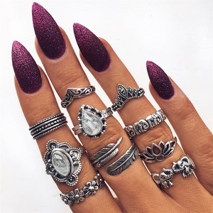 FNIO 10 Pcs/set Women Boho Carving Flowers Leaves Water Drop Stars Crystals Gem Joint Ring Set Lady Party Silver Color Wedding