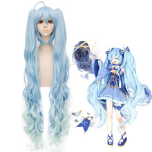цена на Top Quality Japanese Vocaloid Anime Hatsune Miku Cosplay Wigs princess Long Curly Synthetic Hair Chip Ponytails + Free Wig Cap