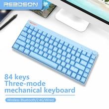 84 chaves rgb gaming teclado mecânico outemu interruptor quente swap bluetooth/2.4g sem fio transparente keycap tipo-c para pc/desktop