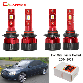 Cawanerl 4 Pieces Car 60W LED Headlight Bulb Low Beam High Beam 9000LM White 6000K 12V For Mitsubishi Galant 2004-2009