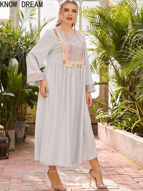KNOW DREAM Dress Women Plus Size Women's Round Neck Long Sleeve Fashion Print Stitching Beads Waist Fashion Muslim Dress 1
