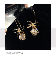Wild Bow Full of Zircon Crystal Pendant Earrings Sweet Temperament Girl Delicate Earrings Aretes De Mujer Modernos(China)