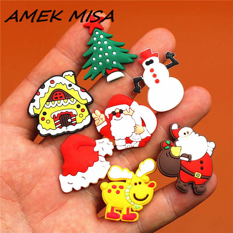 1pcs PVC Christmas Series Shoe Charms Accessories Halloween Croc Shoe Buckle Decorations Ormaments Fit JIBZ Party Kid's Gifts