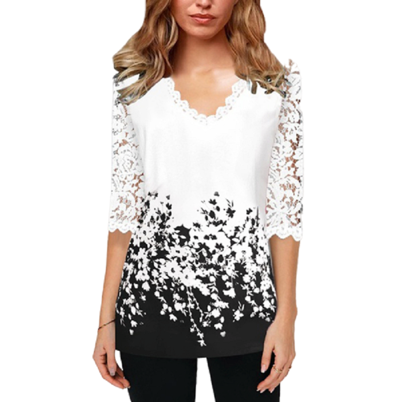 Office Lace Shirt White Print Tshirt For Women Spring Summer 2020 Plus Size Ladies New Top Shirts Elegant V-Neck T Shirt Femme