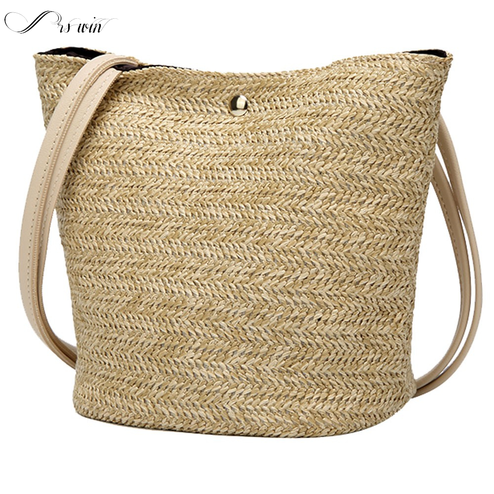 Women Vintage Rattan Wicker Straw Handbags Woven Bohemian Styleshoulder Bag Handbag Lady Zipper Crossbody Bags Bolsos Para Mujer