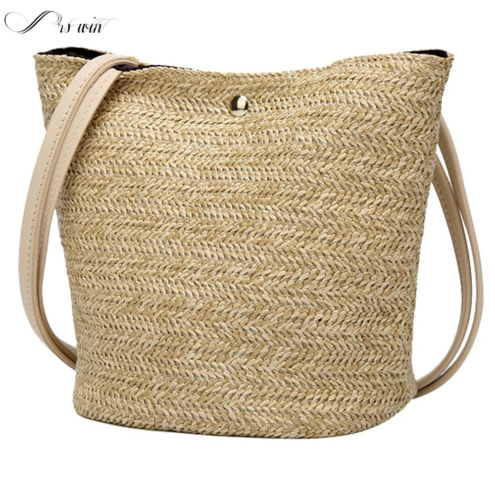 Women Vintage Rattan Wicker Straw Handbags Woven Bohemian Styleshoulder Bag Handbag Lady Zipper Crossbody Bags Bolsos Para Mujer