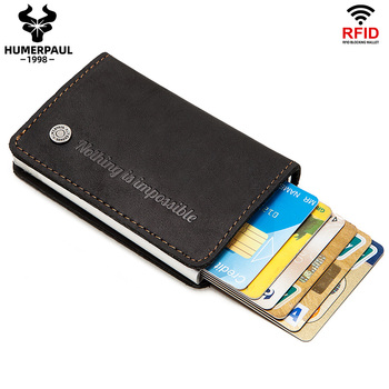 HUMERPAUL Rfid Blocking Protection ID Credit Card Holder Wallet Men Metal Aluminum Automatic Business Slim Fashion Gift - discount item  38% OFF Wallets & Holders