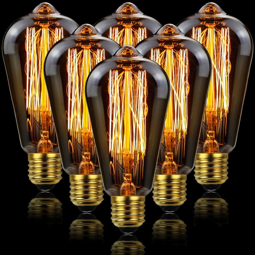 6 PÇS/LOTE TIANFAN E27 ST64 40W Ampola Do Vintage Edison Lâmpada Led 220V 110V Retro Lâmpada Incandescente Edison Lâmpada Decoração Do Vintage Casa