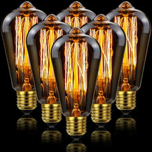 Ampoule Led Edison Vintage TIANFAN, ST64 40W, E27, 220V 110V, rétro, décoration de maison, 6 pièces/lot