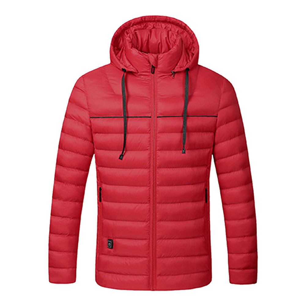 Men Autumn Winter USB Heated Jacket Hiking Washable Flexible With Hood Warm Electric Camping Windproof Travel Infrared Heating