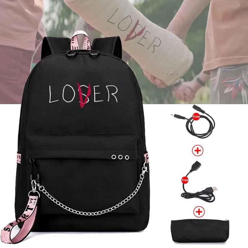 BPZMD Lover Loser Large School Bags For Teenage Girls Usb Charging Backpack Women Book Bag Big High School Bag Youth Leisure Col