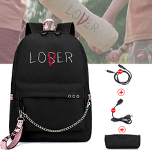 Bpzmd amante perdedor grandes sacos de escola para adolescentes meninas carregamento usb mochila feminina saco de livro grande saco de escola alta juventude lazer col