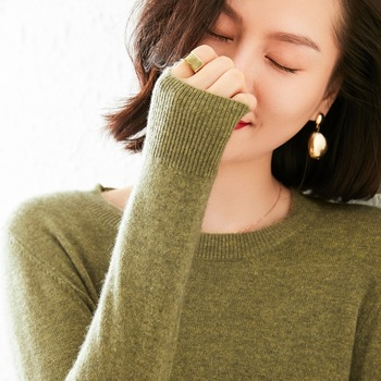 HOT SALE! Women Sweater O-neck 100% Pure Goat Cashmere Knitting Pullovers Female 2020 Winter Soft Warm Jumpers Long Sleeve Cloth 1