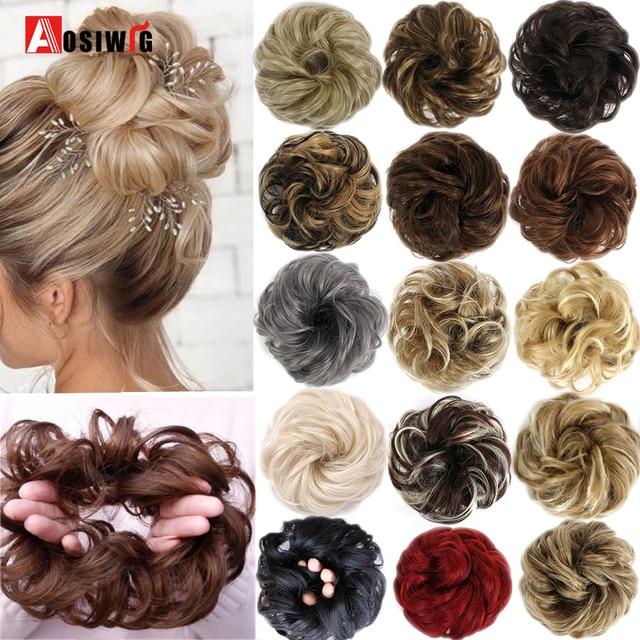 AOSIWIG Short Curly Messy Hair Bow Hair Chignons Synthetic Elastic Hair Rope Natural Fake Hair Bun Clip In Hair Extensions