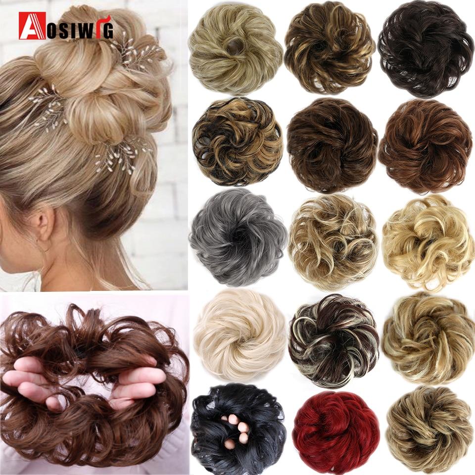 Cabelo curto encaracolado encaracolado cachos de cabelo sintético elástico corda do cabelo natural falso bun clip em extensões de cabelo