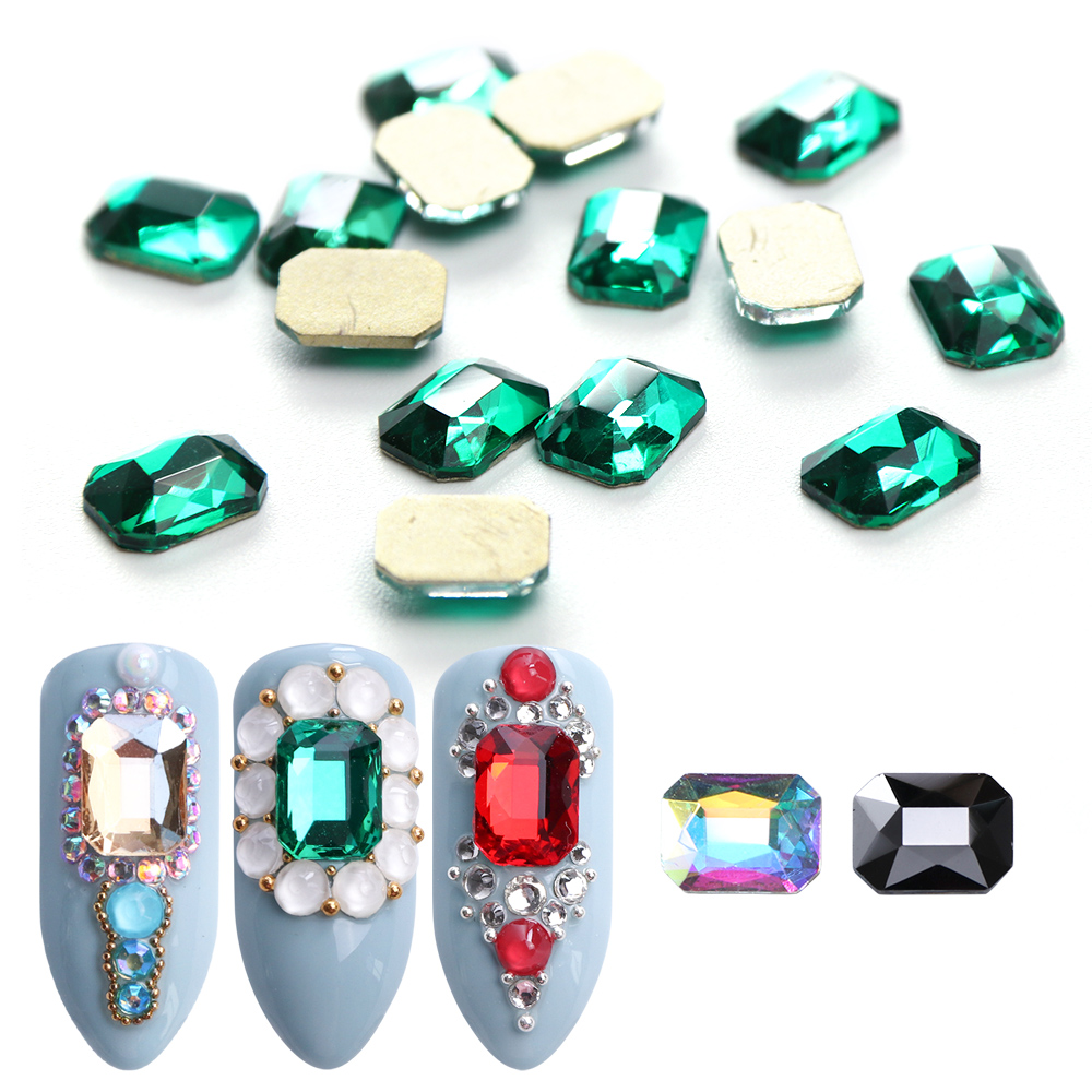 10pcs Nail Rhinestones Rectangle Flat Back Crystal Shiny 3D Strass Gem Stone Manicure Nail Art Decoration Charms Jewelry JI714