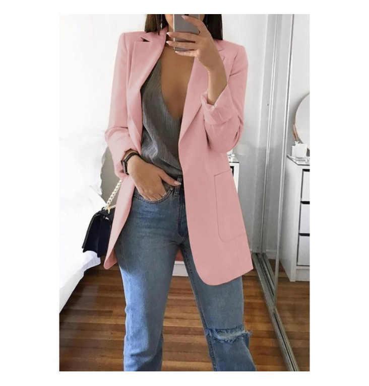 ブレザー女性のファッションソリッドカラーのダブルポケット無地大サイズカーディガンスーツ女性のジャケット 2019 秋の女性の服