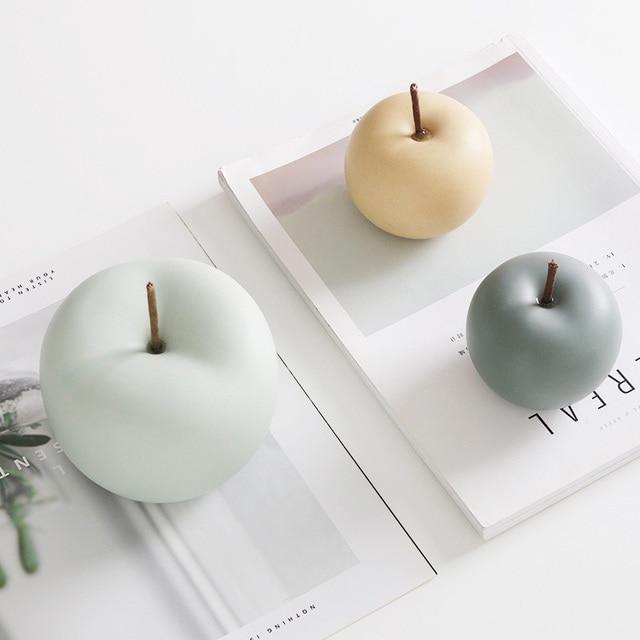 Modern Macaron Home Decor Ceramic Apple Figurines Fruit Arts & Crafts Home Decoration Accessories Sweet Tabletop Ceramic Statues 3