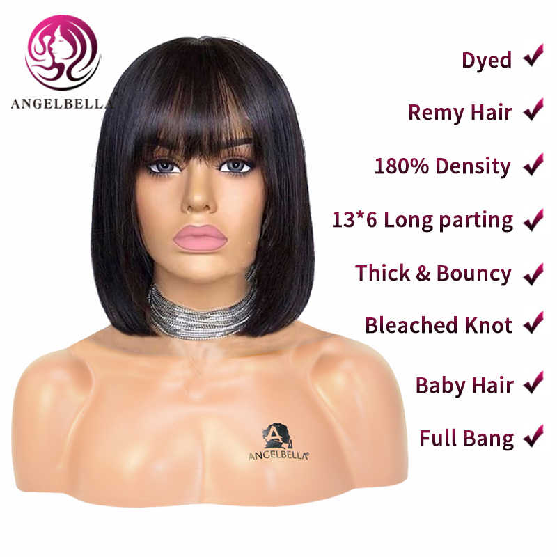 Angelbella 13*6 180% Dichte Gebleichte Knoten Spitze Vorne Menschenhaar Perücken Für Schwarze Frauen Bob Perücke Mit Bang kurz Menschliches Haar Perücken