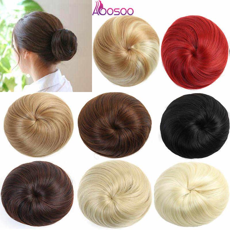 AOOSOO 9 colores niñas marrón Rubio moño pelo moño sintético Donut postizos de rodillo fibra de alta temperatura para las mujeres sombreros
