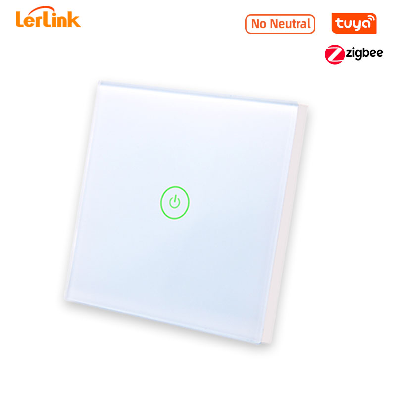 Zigbee Smart Touch Light Switch No Neutral Fire Wire Tuya 86 Glass Wall Panel Switch EU 1/2/3 Gang Work with Google Home Alexa