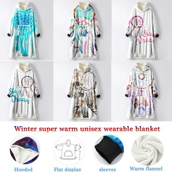 Boho Dream Catcher Hooded TV Blanket with Sleeves Starry Sky Vs Pink Super Soft Halloween Coat Sherpa Throwing Blankets To Sofa