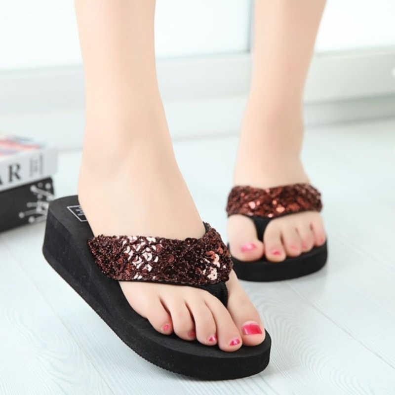 חדש הגעה נשים אופנה פלטפורמת אמצע העקב כפכפים חוף סנדלי נעלי Bowknot נעלי רך נוח נשים קיץ נעליים
