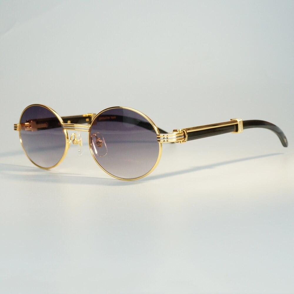 Unique Designer Carter Buffalo Horn Sunglasses for Men Transparent Men Oval Glasses Trendy Mens Eyewear Gafas Myopia De Sol