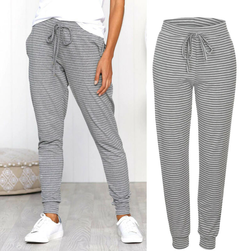 Gooxcheer Women's High Waist Drawstring Stretch Skinny Pencil Pants Trousers Striped Print Leggings Home Jeggings