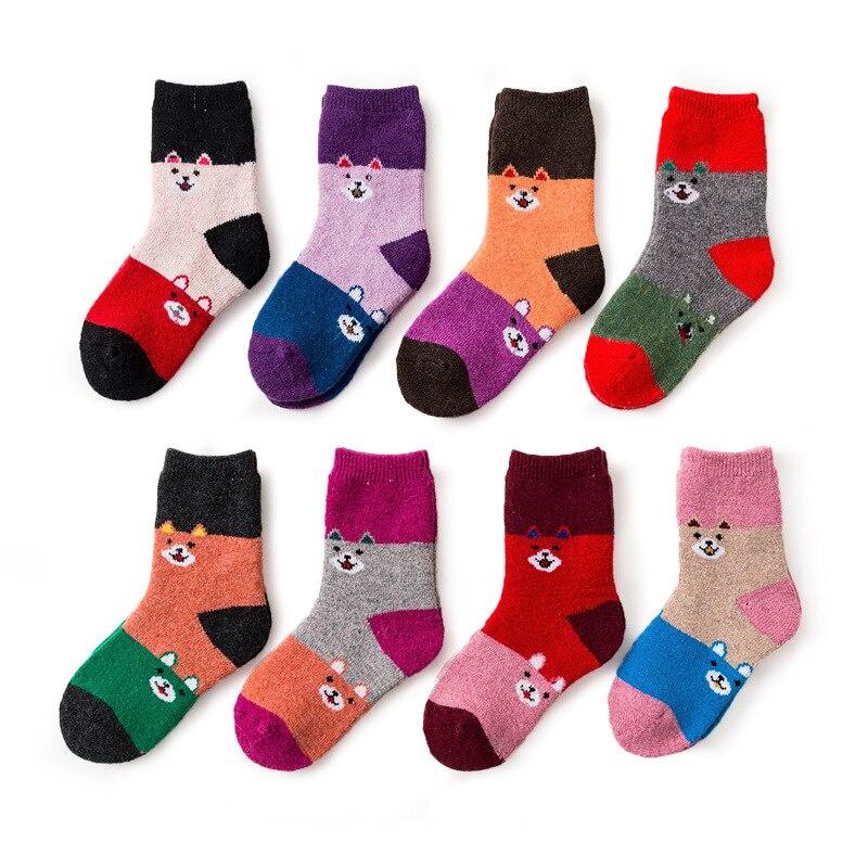 Winter Kids Socks Cotton Warm Thick Wool Socks Children Animal Sock Cute Baby Boys Girls Patchwork Socks Short Soft Footwear