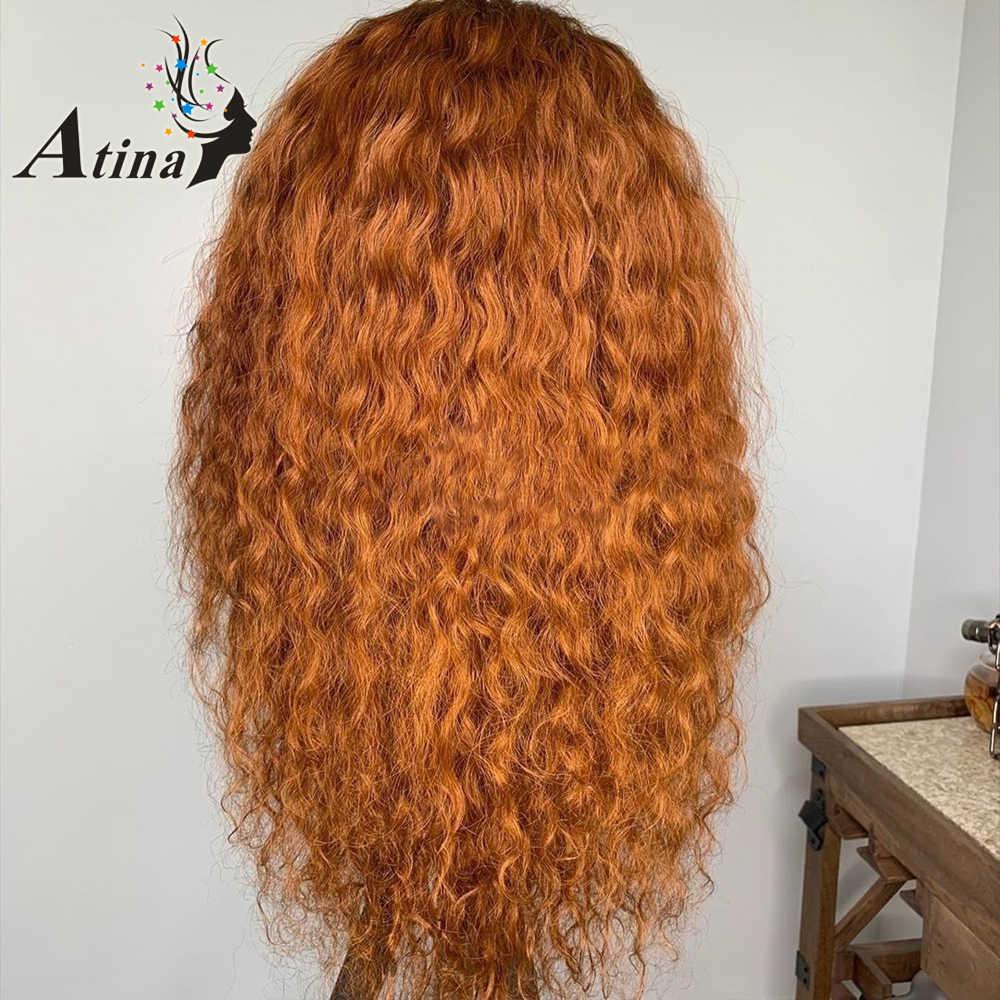 Парик имбиря 13х6 темно-красный 99j бордовый кружевной передний парик оранжевого цвета Омбре человеческие волосы парики Кудрявые HD кружевные передние al Atina 150% Remy