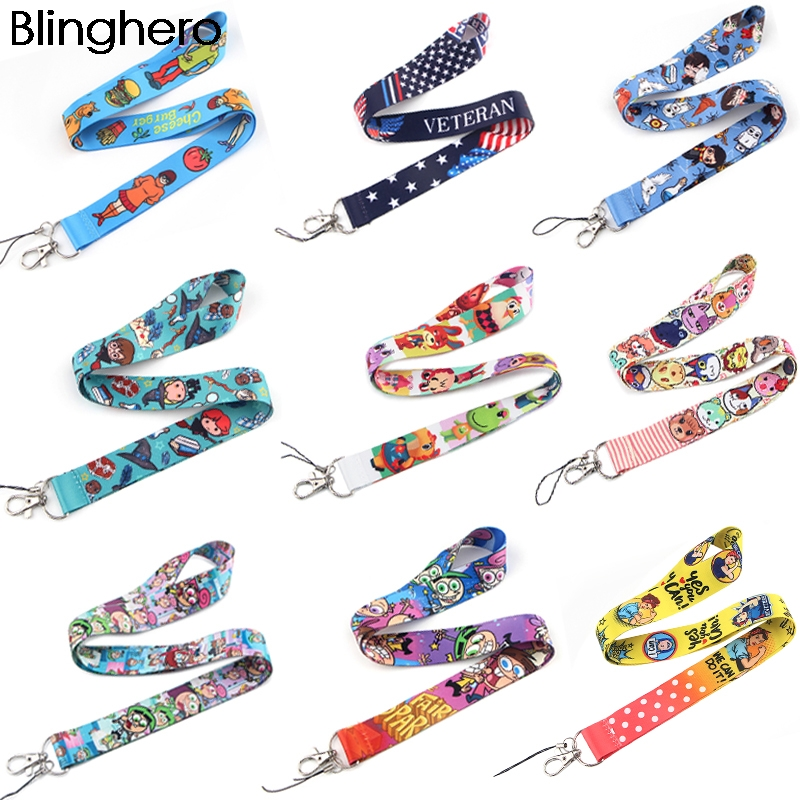 BH1002 Blinghero Cartoon Animal WIZARDRY AND WITCHCRAFT Magic Lanyard Keys Phone Holder DIY American Flag Lanyard