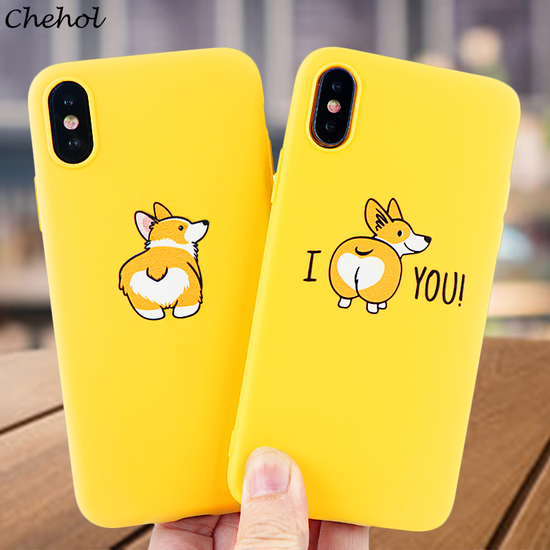 Fashion Dog Mobile Phone Cases for iPhone X XS MAX XR 8 7 6s Plus Case I Love Corgi Soft Silicone Fitted Back Cover Accessories