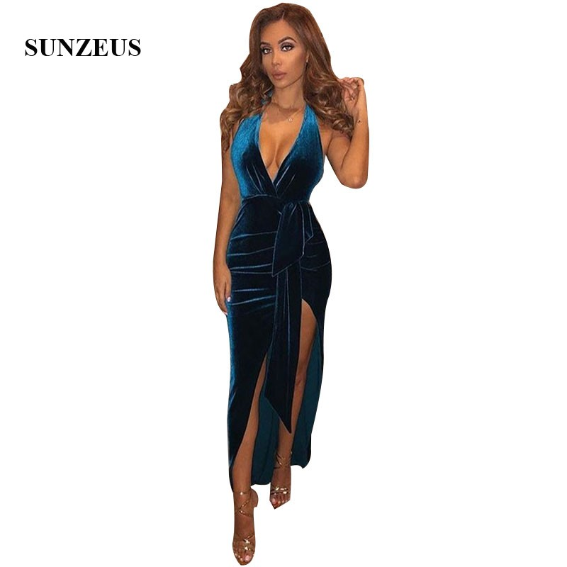 Blue Velour   Prom     Dresses   Simple Straight Halter Neck Ankle Length Dance   Dress   Side Slit Party Gowns For Sexy Women
