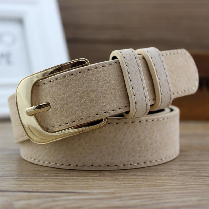 Woman Black Jeans Belt Leather Gold Buckle Pig Skin Belts For Women Girls Fashion Designer Brown Centure Femme Ladies Ceinture