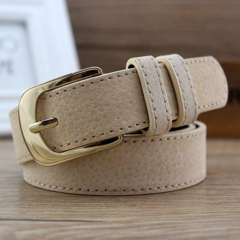 Woman Jeans Belt Black Leather Belts For Women Waist Ceinture Femme Gold Buckle Pig Skin Cintos Designer Fashion Ladies Riem
