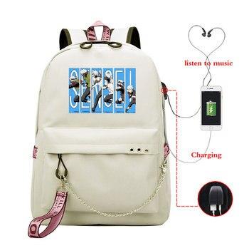 Anime Naruto Printing Backpack Women Bookbags Canvas Cute Pink Rucksack Ladies Teenagers Girls Casual School Bag USB Knapsack