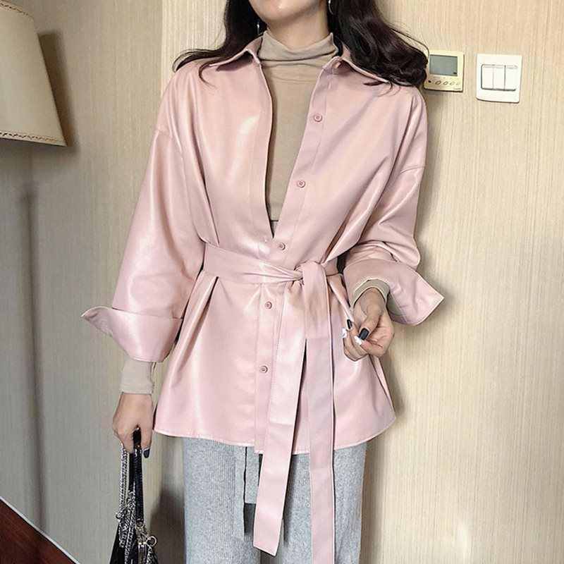 2019 Winter Autumn Motorcycle PU Leather Jackets Women Pink Sashes Leather Coat Belted Outwear New Grunge Style Bomber Jacket