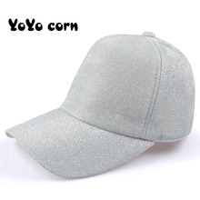 YOYOCORN Casual Ponytail Baseball Cap Women Adjustable Snapback Hat Sequins Shine Hip Hop Caps For Dad Summer Glitter