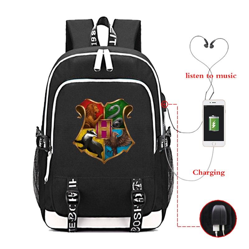 Laptop Backpack Travel-Bag Hogwarts Multifunction Girls School Women Usb-Charging
