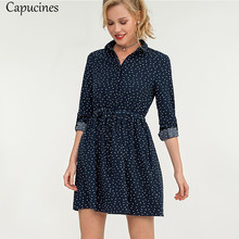 Capucines Dot Printed Turn-down Collar Shirt Dress Autumn Long Sleeve Sashes Casual Dress For Women Fashion A-Line Mini Dresses(China)