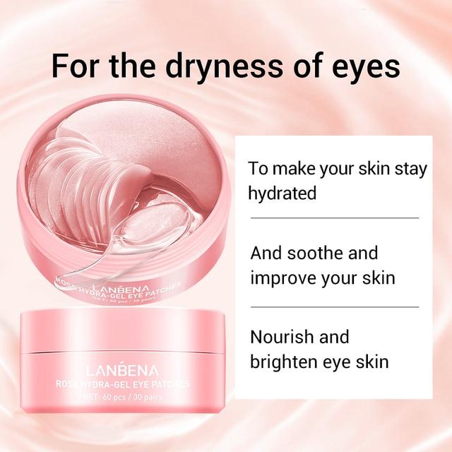 Rose Hydra Gel Eye Mask Lady 60pcs Collagen Eye Patches Remove Puffy Eyes Original Nourish Repair Micro Molecule Brighten Skin 1